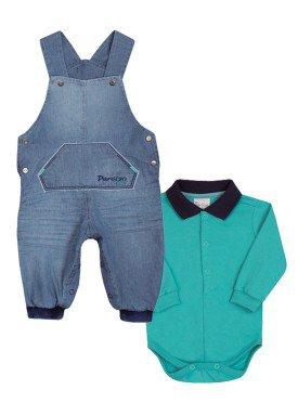 conjunto jardineira body bebe masculino verde paraiso 10134 1