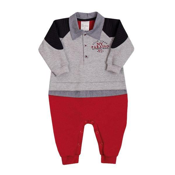 macacao longo bebe masculino style vermelho paraiso 10137
