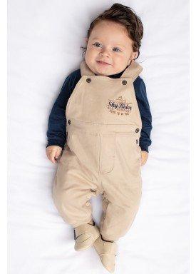 conjunto jardineira body bebe masculino bege paraiso 9775 1