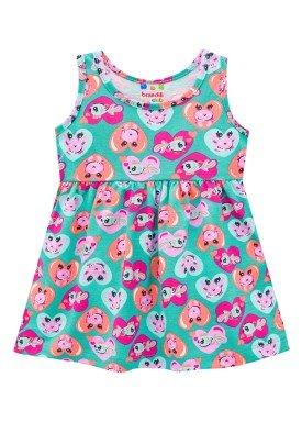 vestido infantil feminino coracoes verde 34291