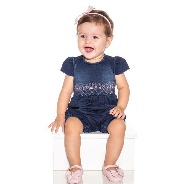 macacao meia manga bebe menina denim jeans paraiso 9720 1