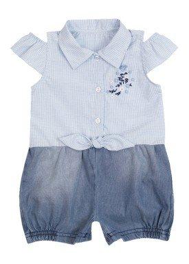 macacao meia manga bebe menina xadrez azul paraiso 10037
