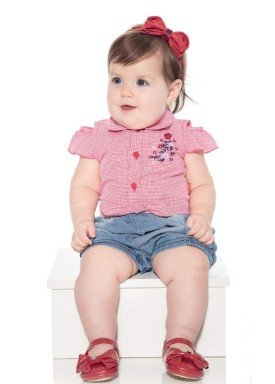 macacao meia manga bebe menina xadrez vermelho paraiso 10037 1