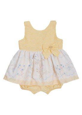 macacao banho de sol bebe menina lese amarelo paraiso 10586