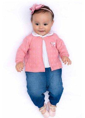 macacao longo bebe menina denim rosa paraiso 10143 1