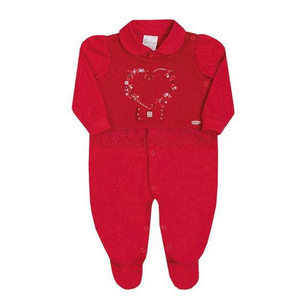 macacao longo bebe menina coracao vermelho paraiso 10147