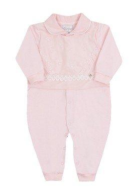 macacao longo bebe menina guipir rosa paraiso 10146