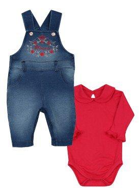conjunto jardineira body bebe feminino princess vermelho paraiso 9020 1