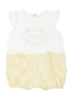 macacao meia manga bebe feminino gatinho amarelo paraiso 9531