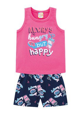 conjunto infantil feminino happy rosa brandili 34293