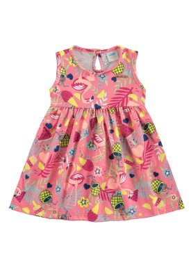 vestido bebe feminino flamingos melancia marlan 60397