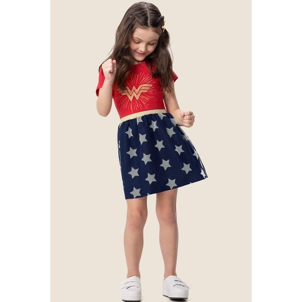 vestido infantil feminino mulher maravilha vermelho marlan m6060 1