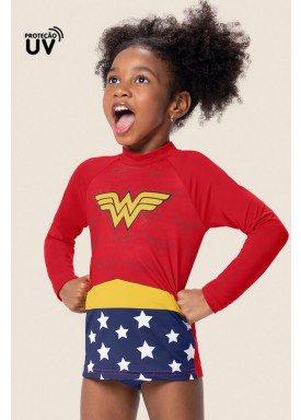 blusa infantil feminino mulher maravilha vermelho marlan m6063 1