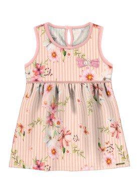 vestido bebe feminino flores salmao alakazoo 47185