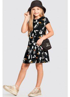 vestido infantil feminino tucanos preto alakazoo 11215 1