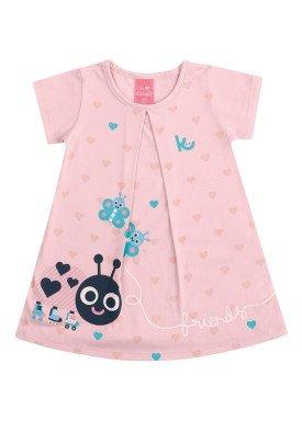 vestido suedine bebe feminino friends rosa kamylus 10140