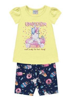 conjunto bebe feminino unicorn amarelo forfun 3103