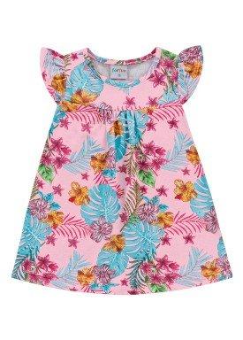 vestido bebe feminino flores rosa forfun 3100