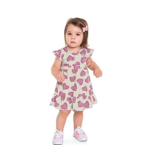 vestido bebe feminino flamingo mescla fakini 3009 1