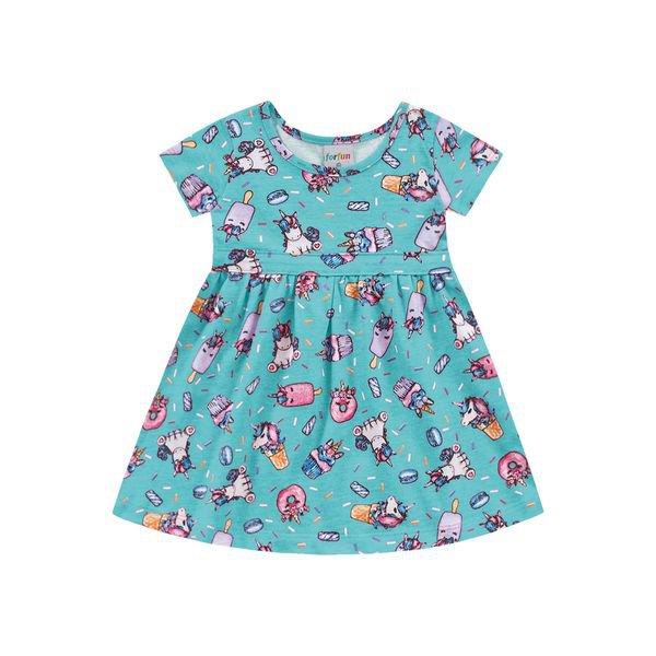 vestido bebe feminino unicornios azul forfun 3102