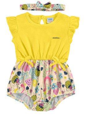 macaquinho bebe feminino flamingos amarelo marlan 60399