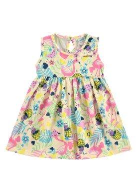 vestido bebe feminino flamingos marfim marlan 60397