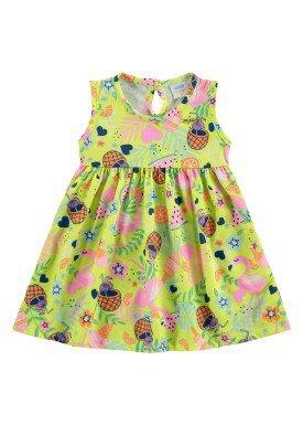 vestido bebe feminino flamingos verde marlan 60397