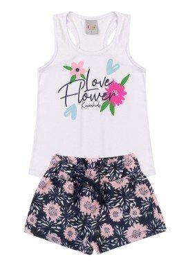 conjunto infantil feminino flower branco kiiwi kids 1