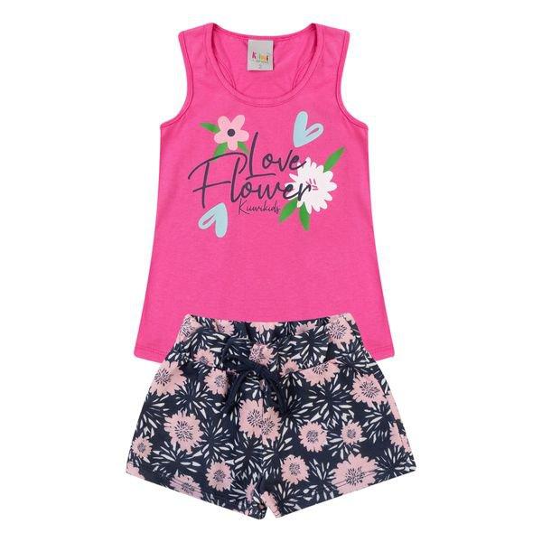 conjunto infantil feminino flower pink kiiwi kids 1