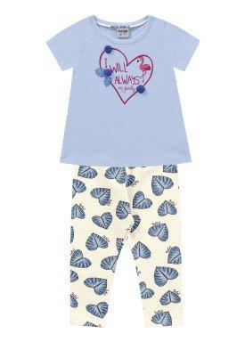 conjunto bebe feminino flamingo azul fakini 3010