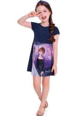 vestido infantil feminino frozen marinho fakini 3442 1