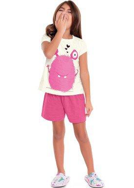 pijama curto infantil feminino monster marfim fakini 3083 1