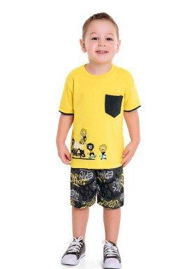 conjunto infantil masculino street kings amarelo fakini 3229 1