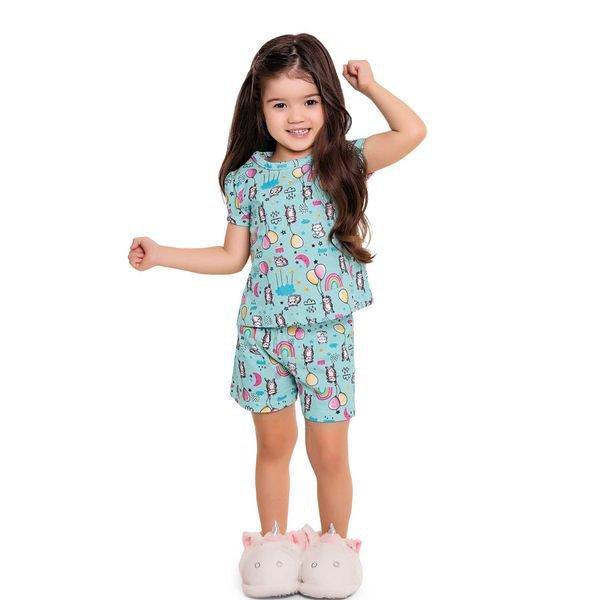 pijama curto infantil feminino cat ballon azul fakini 3042 1