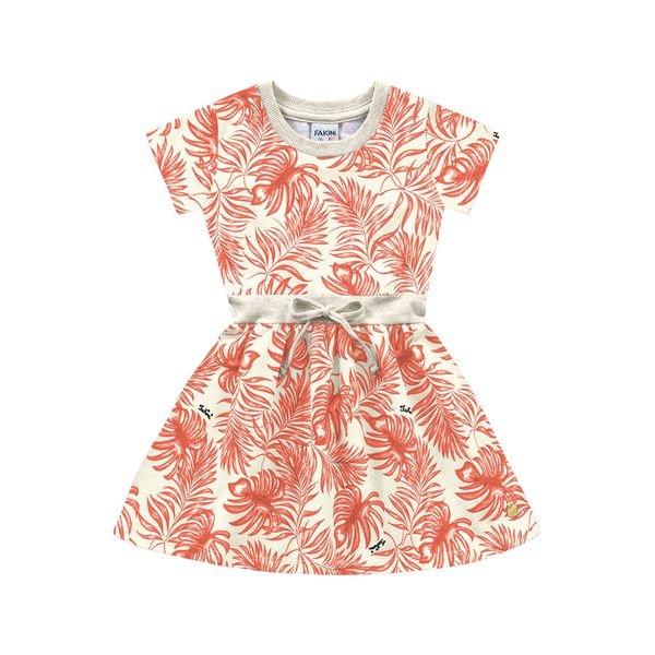 vestido infantil feminino folhagem marfim fakini 3028