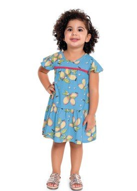 vestido infantil feminino mangas azul fakini 3021 1