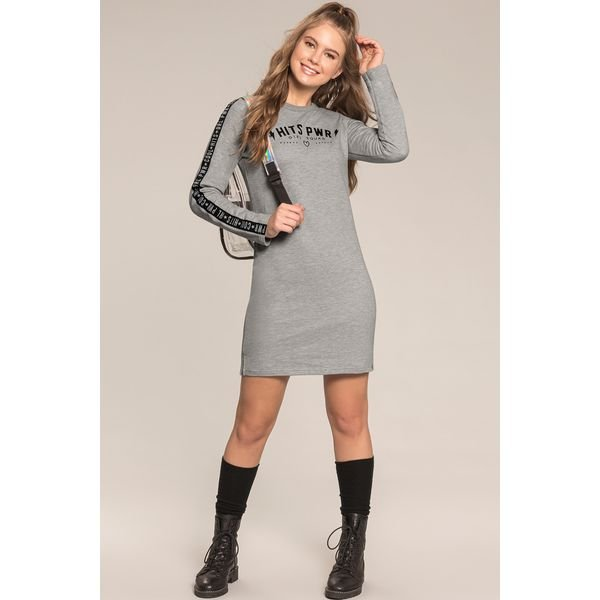 vestido moletom juvenil feminino girl squad mescla lunender hits 67595 1