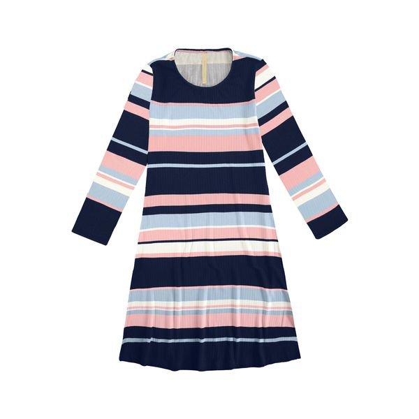 vestido manga longa juvenil feminino listrado marinho lunender hits 67604