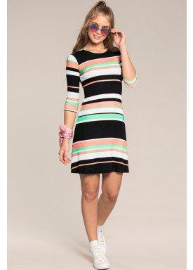 vestido manga longa juvenil feminino listrado preto lunender hits 67604 1