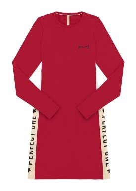 vestido manga longa juvenil feminino perfect one vermelho lunender hits 67594
