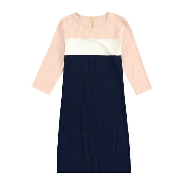vestido manga longa juvenil feminino canelado salmao lunender hits 67591