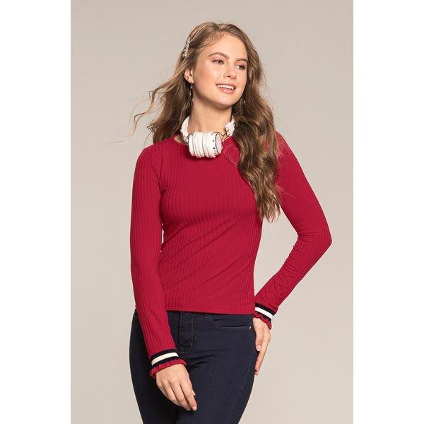 blusa manga longa juvenil feminina vermelho lunender hits 67563 2