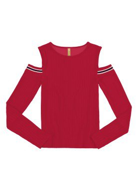 blusa manga longa juvenil feminina vermelho lunender hits 67601