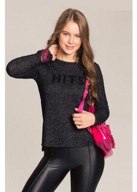 blusa manga longa juvenil feminina tricot preto lunender hits 67570 1