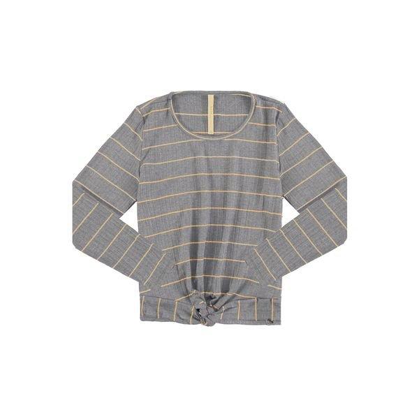 blusa manga longa juvenil feminina listras mescla claro lunender hits 67569