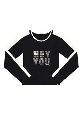 blusa manga longa juvenil feminina hey you preto lunender hits 67588