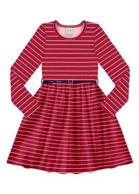 vestido infantil juvenil feminino listrado vermelho alakazoo 67535