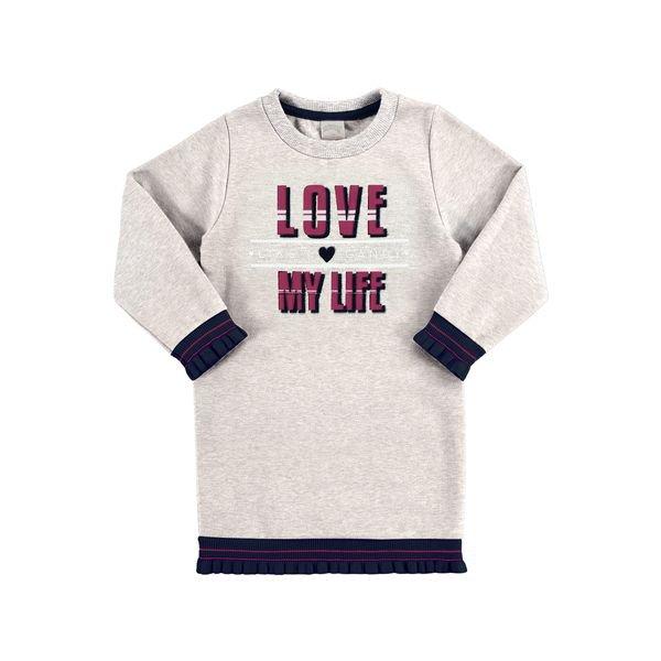 vestido moletom infantil juvenil feminino love mescla alakazoo 67469