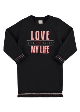 vestido moletom infantil juvenil feminino love preto alakazoo 67469