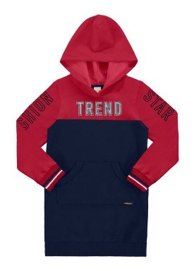 vestido moletom infantil juvenil feminino trend vermelho alakazoo 67533